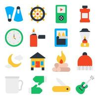 Pack of Road Trip Flat Icons vector