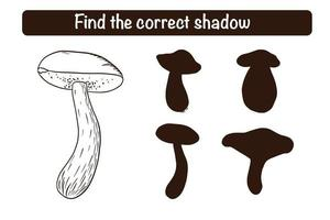 Find Correct Boletus Silhouette Educational Game for Kids vector