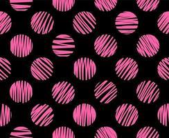Hand drawn pink circles brush lines seamless pattern black background. vector
