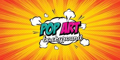 Comic pop art cloud bubble. background halftone dots. vector