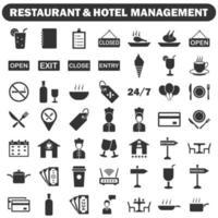restaurant and hotel management icon set black vector