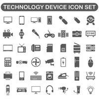 digital technology device icon set black vector