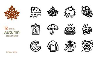 Autumn linear icon vector set