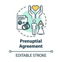Prenuptial agreement concept icon vector