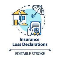 Insurance loss declaration concept icon vector