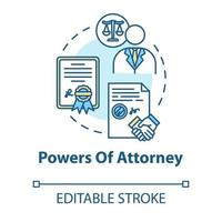 Powers of attorney concept icon vector