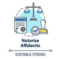Notarize affidavits concept icon vector