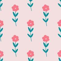 Cute Flowers Seamless Repeat Vector Pattern