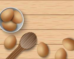 Vista superior de huevos frescos en la mesa de madera, ilustración vectorial vector