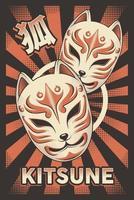 cartel de kitsune de máscara de zorro japonés retro vector