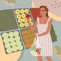 Illustration of cute young girl buy food in the store or market vector