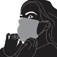 woman adjusting her face mask character silhouette on white background vector