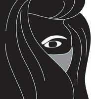 young women in mask abstract artwork silhouette on white background, vector