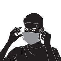 young man with mask on face character silhouette on white background, vector