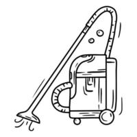 Professional industrial vacuum cleaner, linear doodle icon vector