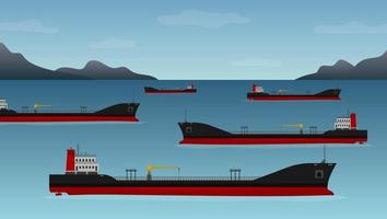 Five oil tankers float off the coast of California vector