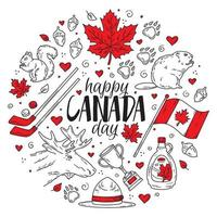 Happy National Day of Canada, a set of Doodle-style icons vector