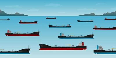 Oil tankers float off the coast of California vector