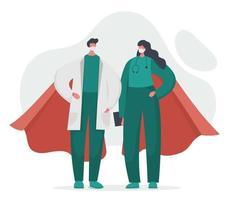 un médico y una enfermera son superhéroes con capas vector