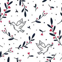 Vector seamless pattern of pigeon with flowers