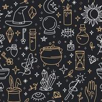 A magical seamless pattern with doodle style icons vector