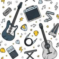 Guitar music seamless pattern in Doodle style vector