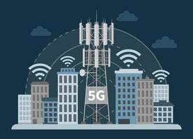5G tower base station in innovative smart city vector