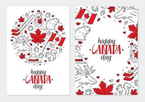 Happy National Day of Canada, a set of postcards or posters with icons vector