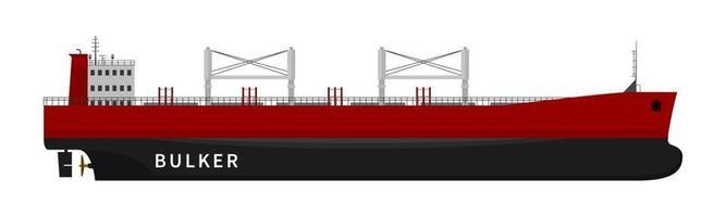 Red bulker cargo ship on white background vector