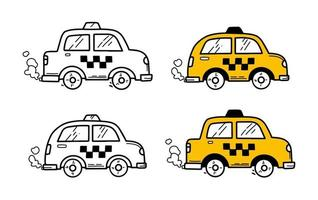 Taxi cars in doodle hand drawing style vector