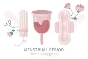 Set menstrual cup tampon napkin liners and flowers vector