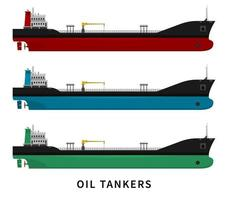 Red green blue black oil tanker set vector