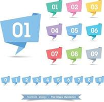 Numbers  Ribbon Icon set with full color vector design, illustrator