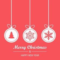 Christmas and New Year Greeting Card with Hanging Baubles, Lettering vector