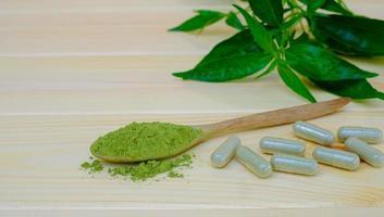Kariyat en polvo con cápsulas de hierbas, planta medicinal a base de hierbas tailandesas foto