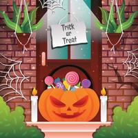 Trick or Treat with Pumpkin Background Template vector