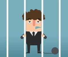 mano de hombre de negocios sosteniendo barras de metal en la ilustración de la cárcel. vector