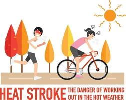 Heat stroke,The dangers of working out in the hot weather.,vector vector