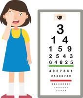 Girl with eye chart test diagnostic  illustration vector