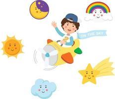 niño montando avión en el cielo y el conjunto de símbolos, ilustración aislada vector