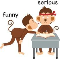 Opposite funny and serious illustration vector