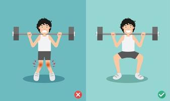 Male wrong and right squat posture, illustration vector