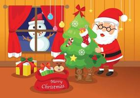 illustration of santa claus happy new year and merry christmas vector