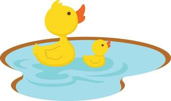 duck swimming in the pond, illustration. vector