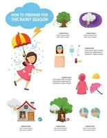 How to prepare for the rainy season infographic,vector illustration. vector