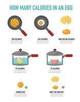 cuántas calorías hay en una infografía de huevo, ilustración vectorial vector