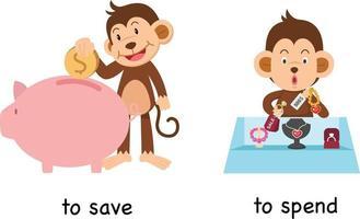 opuesto a ahorrar y gastar ilustración vectorial vector