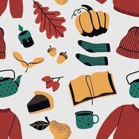 Cozy autumn seamless pattern in scandinavian style vector