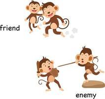 Ilustración de vector de amigo y enemigo opuesto