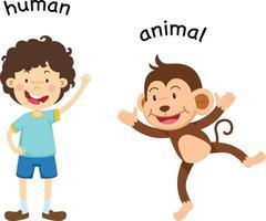 Ilustración de vector humano y animal opuesto
